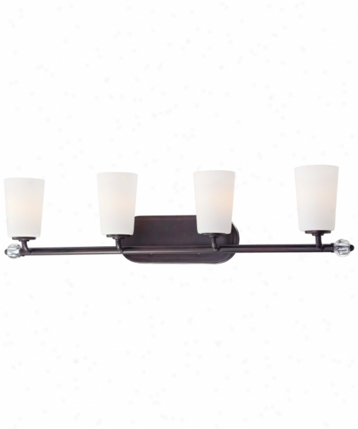 Minka Lavery 6614-298 Modenr Continental 4 Light Bath Vanity Light In Kingston Bronze With Etched Of a ~ color Glass