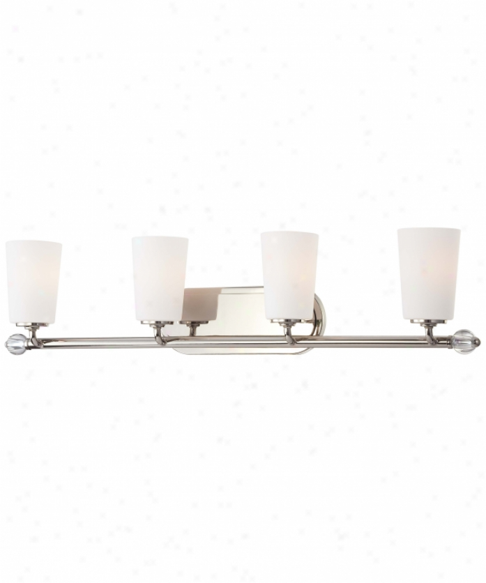 Minka Lavery 6614-613 Modern Continental 4 Light Bath Vanity Light In Polished Nickel With Etched White Glass