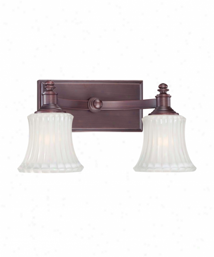 Minka Lavery 6682-143 Hayvenhurst 2 Light Bath Vanity Light In Oil Rubbed Bronze Through  Ribbed  With Etched Inside Glass