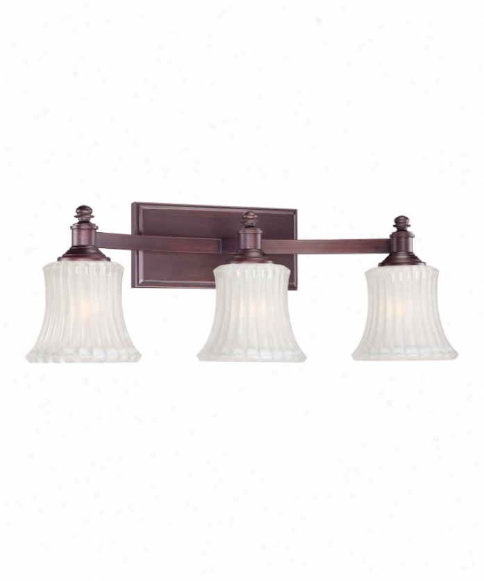 Minka Lavery 6683-143 Hayvenhurst 3 Light Bath Vanity Light In Oil Rubbed Bronze With Ribbed  With Etched Inside Glass