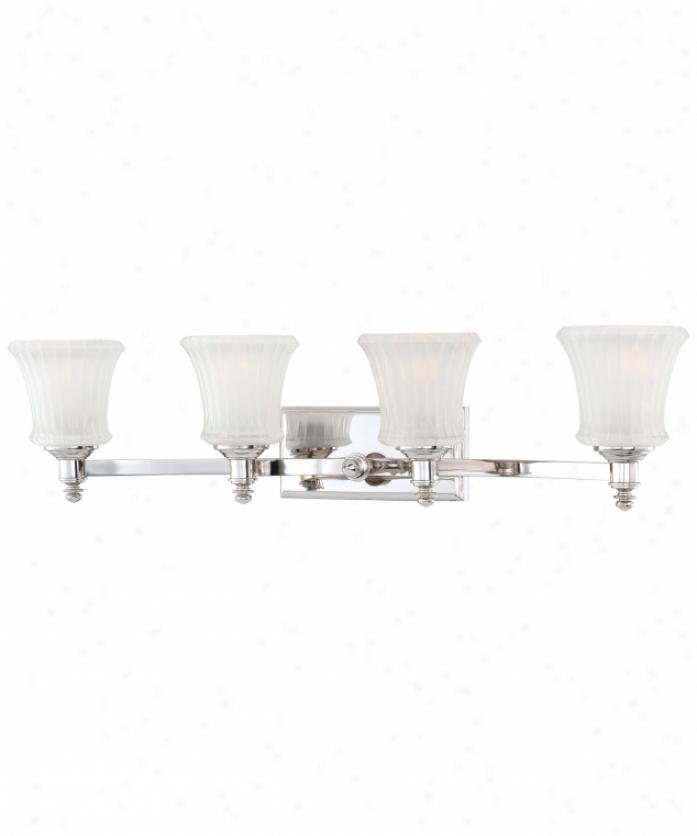 Minka Lavery 6684-613 Hayvenhurst 4 Light Bath Vanity Light In Polished Nickel With Ribbed  With Etched Inside Glass