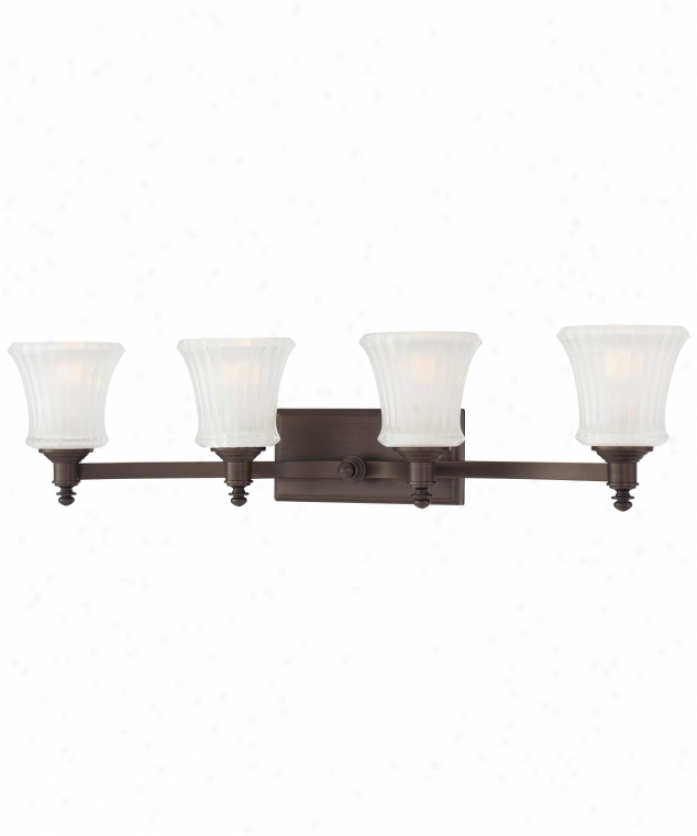 Minka Lavery 6684-647 Hayvenhurst 4 Easy  Bath Vanity Light In Copper Bronze Patina With Ribbed/ Etched Inside Glass