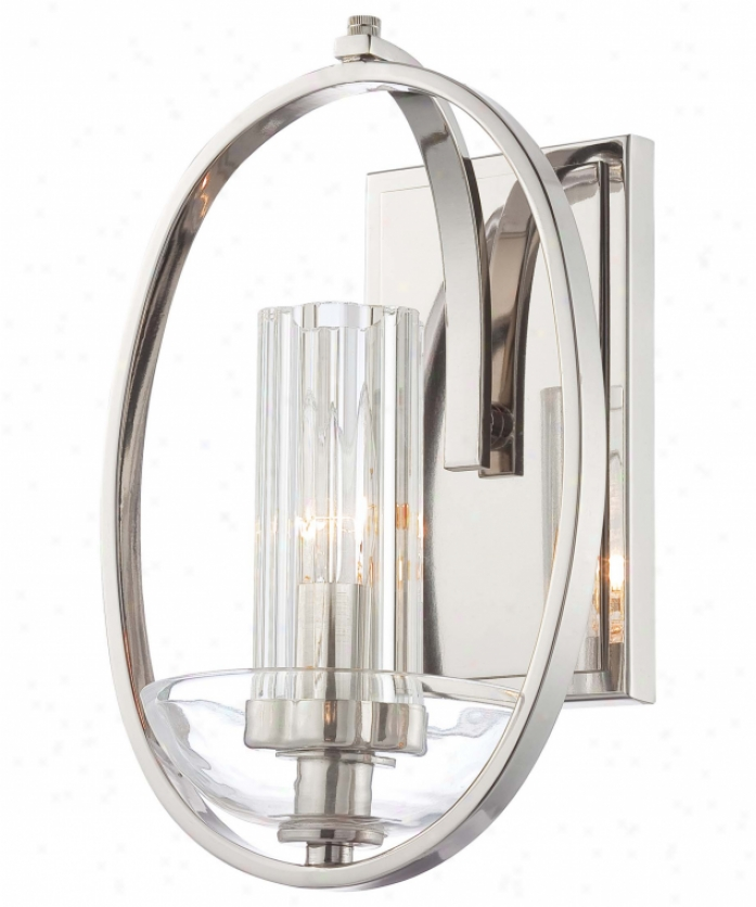 Minka Lavery 6690-613 Urban Nouveau 1 Light Wall Sconce In Polished Nickel With Eidolon Krystal And Clear Glass