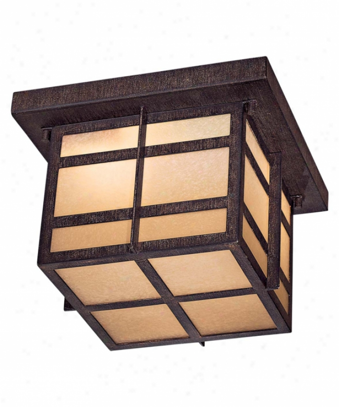 Minka Lavery 71199-a357-pl Delancy Energy Smart 2 Easy  Outdoor Flush Moint In Iron Oxide With Double French Scavo Glass