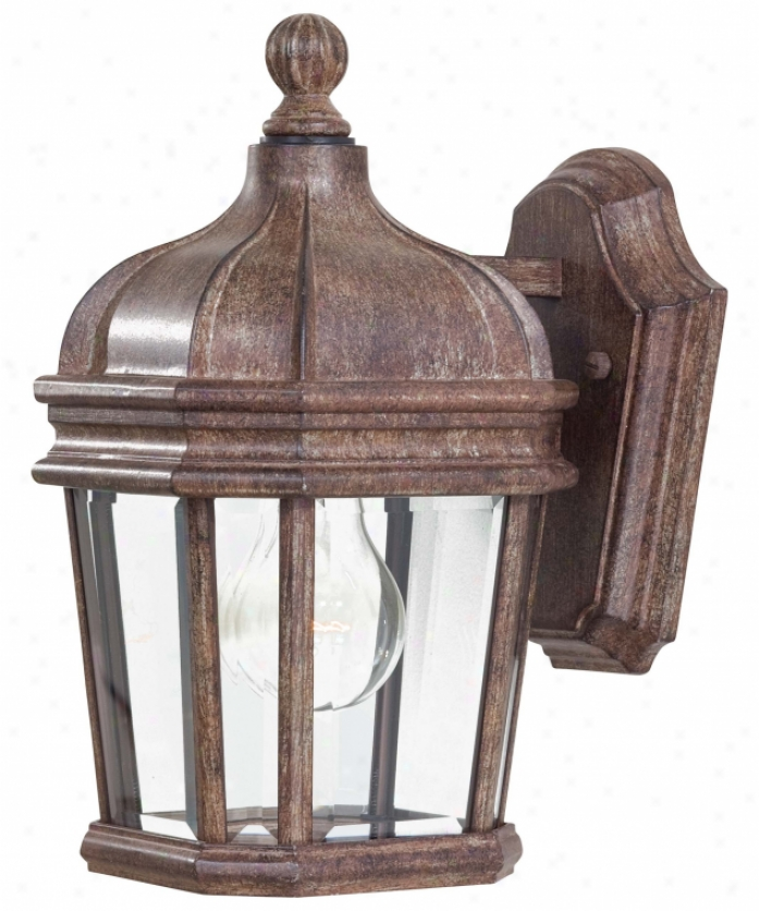 Minka Lavery 8690-61 Harrison 1 Light Outdoor Wall Light In Vintage Rust With Double French Scavo Clear Beveled Glass