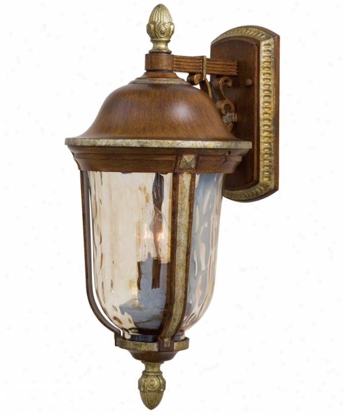 Minka Lavery 8751-161 Montanero 2 Light Outdoor Wall Light In Mossoro Walnut WsilverW ith Champagne Hammered Glass