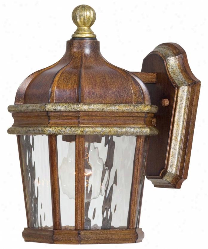 Minka Lavery 8790-161 Marietta 1 Light Outdoor Wall Llght In Mossoro Walnut Wsilver Hibhlights With Supply with ~  Glass