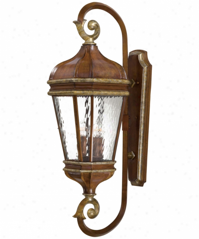 Minka Lavery 8793-161 Marietta 4 Light Outdoor Wall Light In Mossoro Walnut Wsilver Highlights With Water Gkass