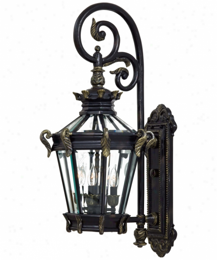 Minka Lavery 8932-95 Stratford Hall 4 Light Outdoor Wall Light In Inheritance With Gold With Perspicuous Beveled Glass