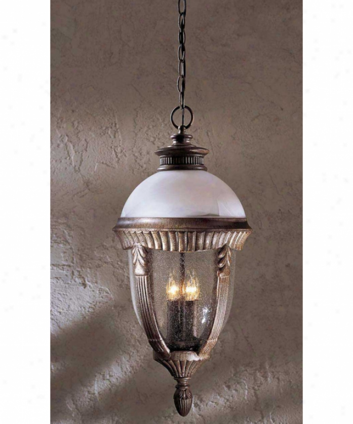 Minka Lavery 8974-61a Heron Bay 4 Light Outdoor Hanging Lantern In Vintage Rust With Etched Marble Rise to the ~ of Mouth Blown Clear Seeded Glass