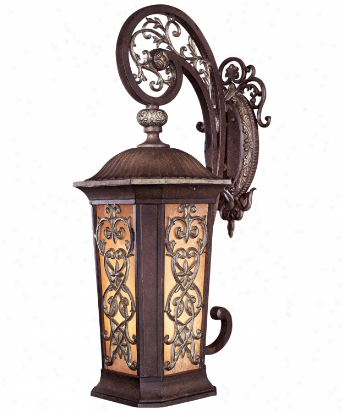 Minka Lavery 9113-198b-pl Romance Collection Energy Smart 2 Light Outdoor Wall Light In Ravello Bronze With Gold Highlights With Salon Scavo Glass Glass