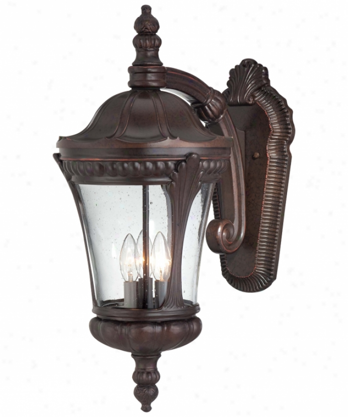 Minka Lavery 9143-291 Kent Place 3 Light Outdopr Wall Light In Architectural Bronze With Clear Seeded Glass