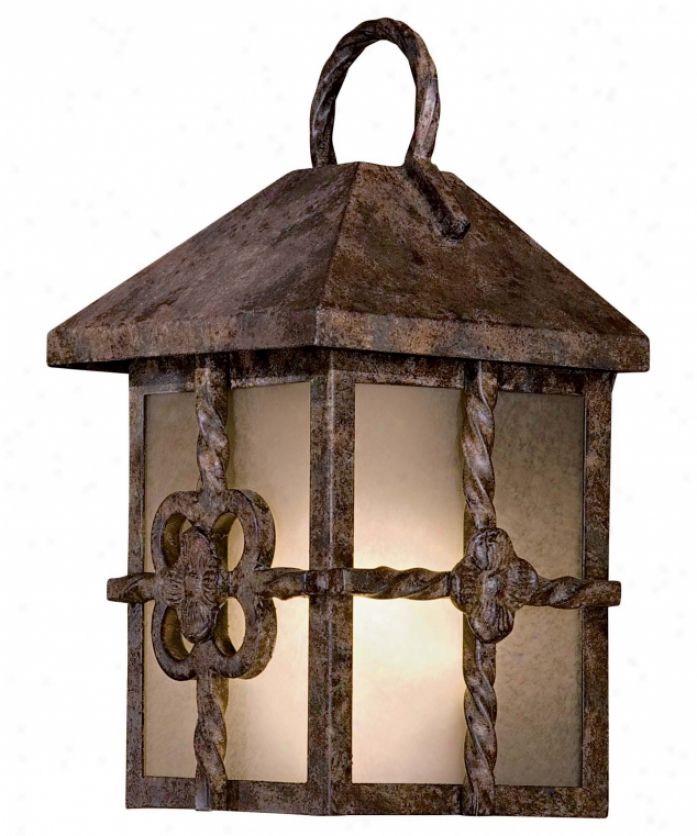Minka Lavery 9201-067-pl Villa Escala Energy Smart 1 Light Outdior Wall Light In Rustic Bronze With Double French Scavo Glass