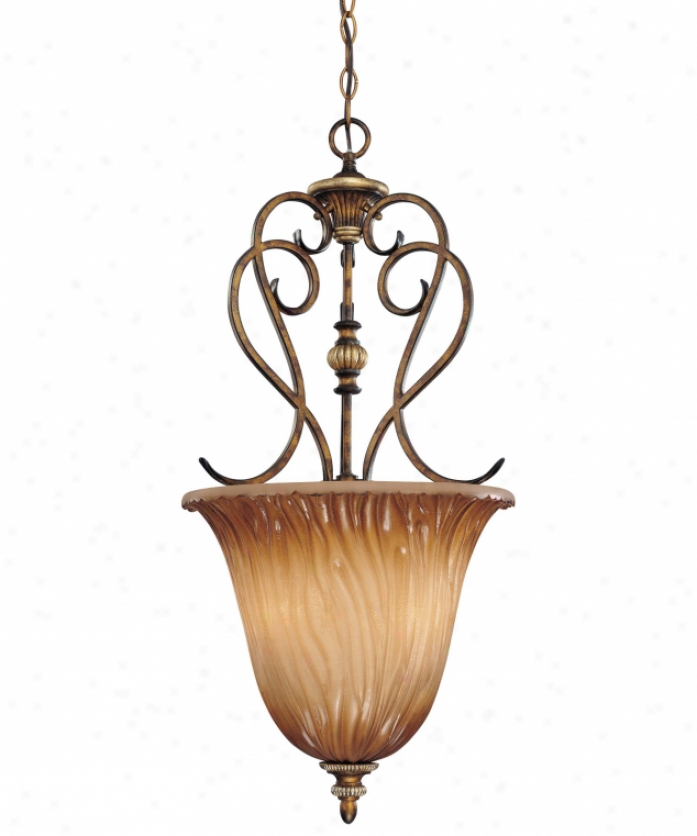 Minka Lavery 964-243 Raffine 3 Light Ceiling Pendant In Raffine Aged Patina Witj Toned Spumanti Strato Glass Glass