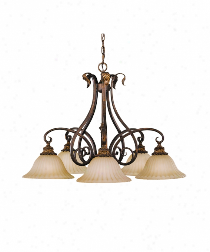 Murray Feiss F2075-a5ts Sonoma Valley 5 Light Single Tier Chandelier In Aged Tortoise Shell With French Scavo Glass Glass