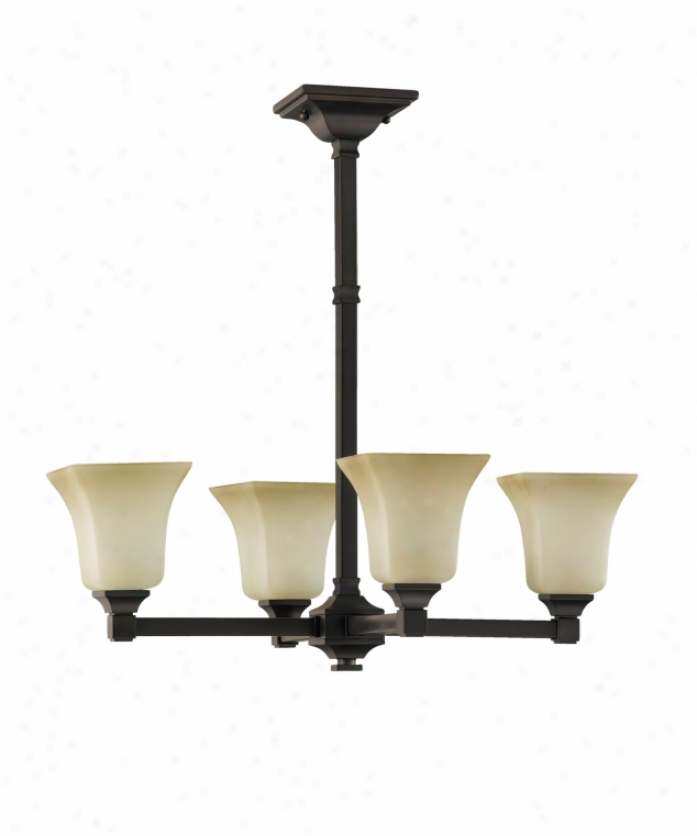 Murray Feiss F2214-4orb American Foursquare 4 Light Single Row Chandelier In Oil Rubbed Bronze With Excavation Glass