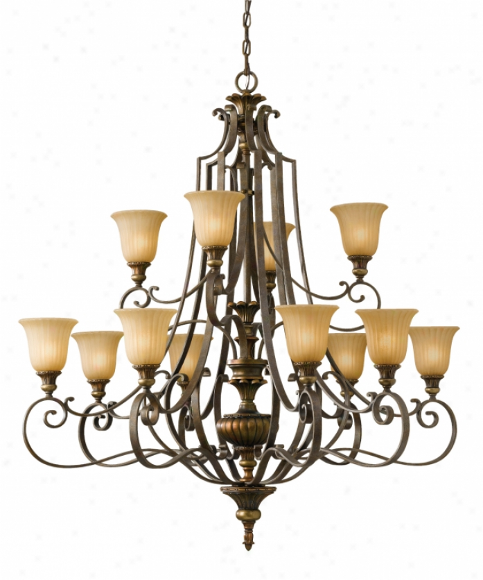 Murray Feiss F2418-8+4fg-brb Kelham Hall 12 Light Large Foyer Chandelier In Firenze Gold-british Bronze Wtih India Scavo Glass Glass