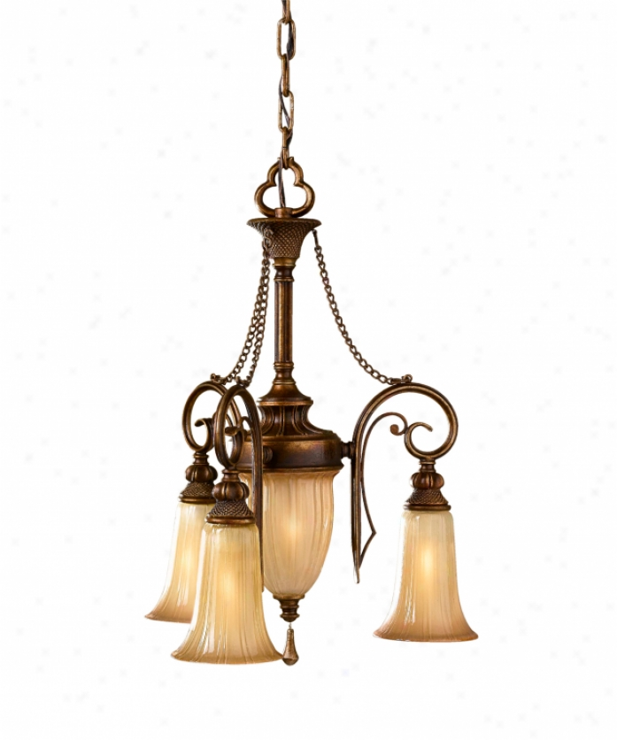 Murray Feiss F2543-3fsv Celine 4 Light Mini Chandelier In Firenze Silver Attending Hand Blown Striated Art Glassglass Glass