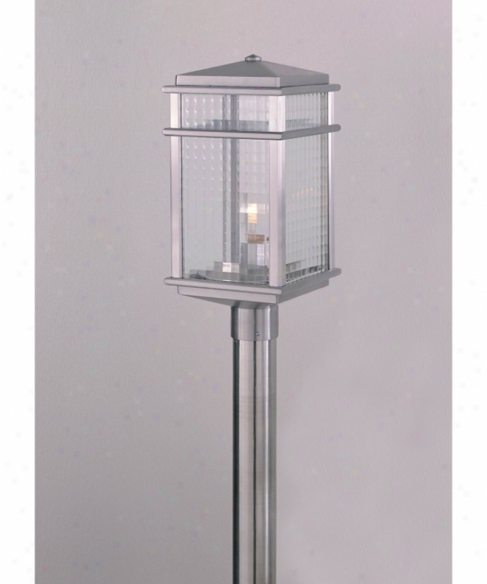 Murray Feiss Ol3408bral Monterrey Coast 1 Light Outdoor Poat Lamp In Brushed Aluminum With Sq8are Pattterned Glass Gkass