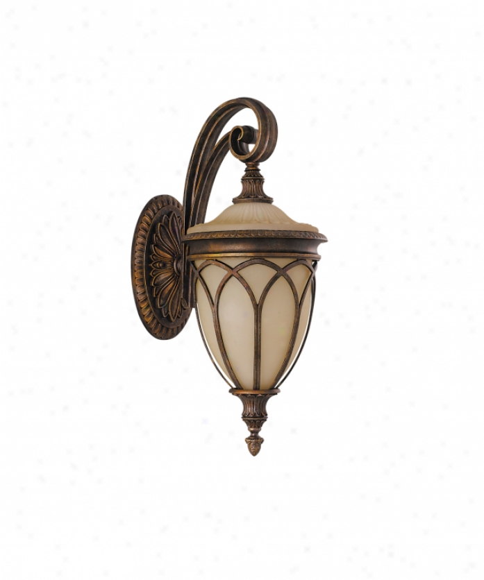 Murray Feiss Ol4502brb Stirling Castle 1 Light Outdoor Wall Light In British Bronze With Antique Excavation Glass Glass