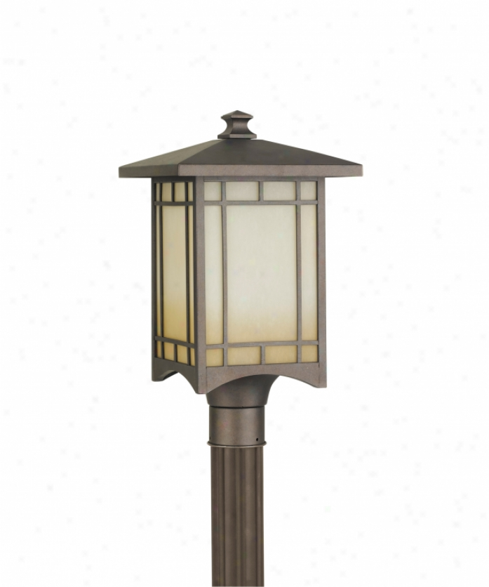 Murray Feiss Ol5307cb Aygust Month 1 Light Outdoor Post Lamp In Corinthian Bronze With Antique Excavation Glass Glass