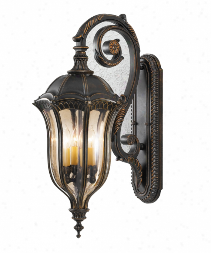 Murray Feiss Ol6004wal Staff Rouge 4 Light Outdoor Wall Light In Walnut Through  Gold Luster Tinted Glass Glass