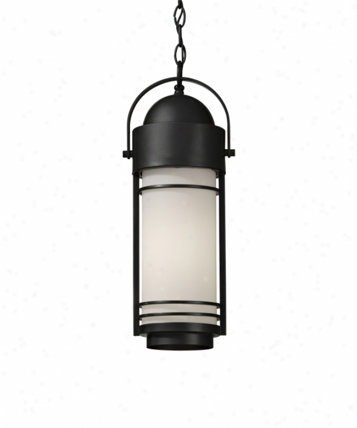 Murray Feiss Ol8311drc Carbondale 1 Light Outdoor Hangging Lantern In Dark Chocolate With White Opal Etchedglass Glass