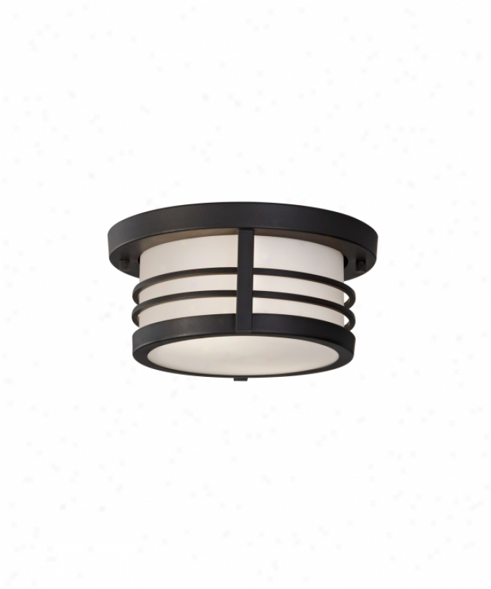 Mirray Feiss Ol8313drc Carbondale 2 Light Outdoor Flush Mount In Dark Chocolate With White Opal Etchedglass Glass