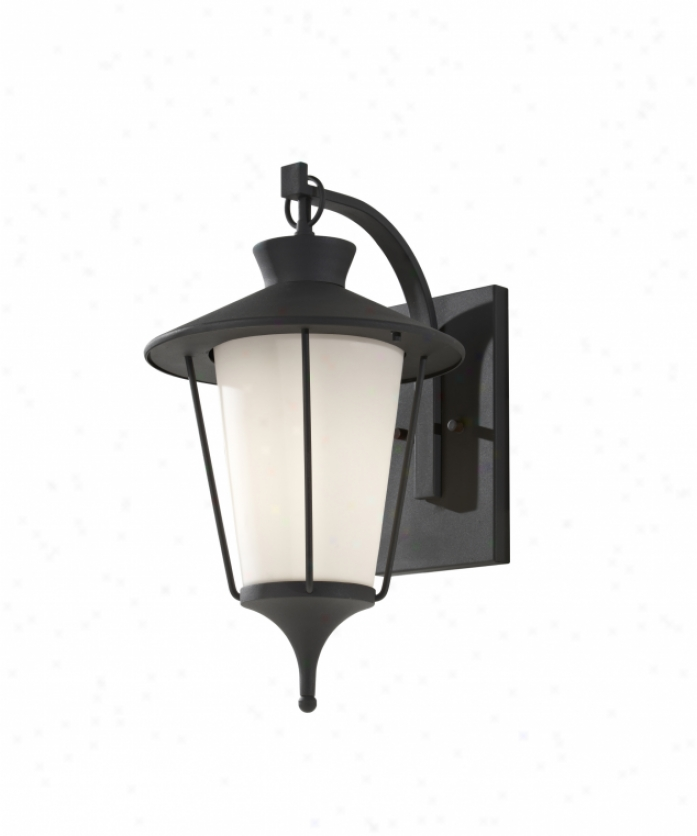 Murray Feiss Ol8402txb Hawkins Square 1 Light Outdoor Wall Light In Teztured Black With White Opal Etchedglass Glass