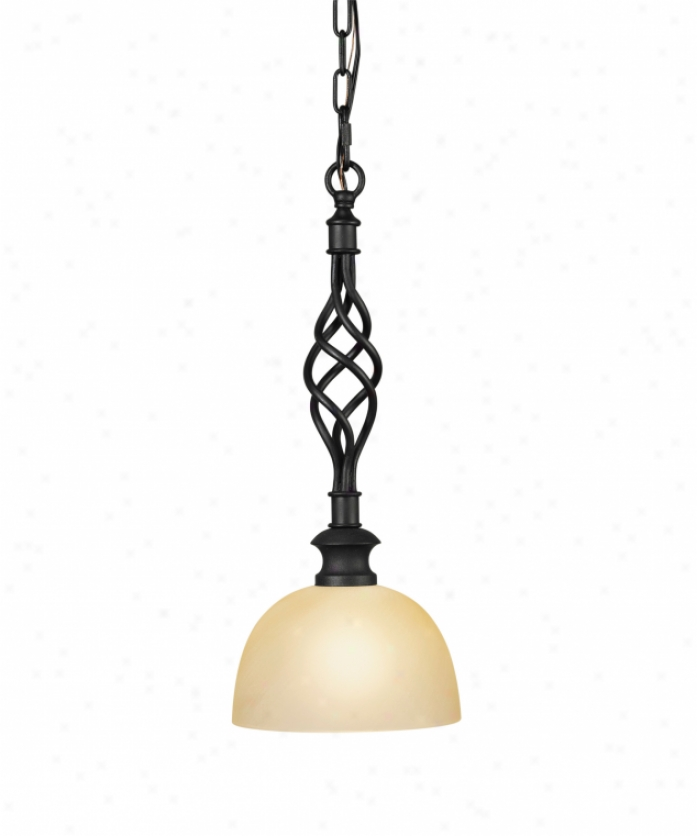 Murray Feiss P1122bk Alexandria Mini Pendant In Textured Black With Travertine Swirl Patterned Glass Glass
