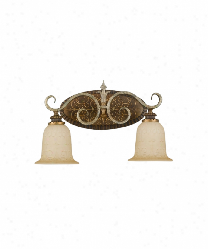 Murray Feiss Vs11802gis-pcn Alderson Court 2 Light Bath Vanity Light In Gilded Imperial Silver-pecan With Antique Excavation Glass Glass