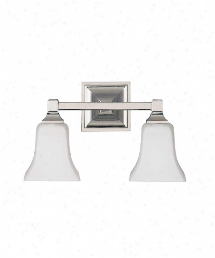 Murray Feiss Vs12402pn American Foursquare 2 Light Bath Vanity Light In Polshed Nicke With Opal Etched Glass