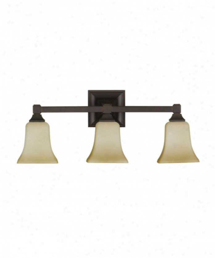 Murray Feiss Vs12403orb American Foursquare 3 Light Bath Conceit Light In Oil Rubbed Bronze With Excavation lGass