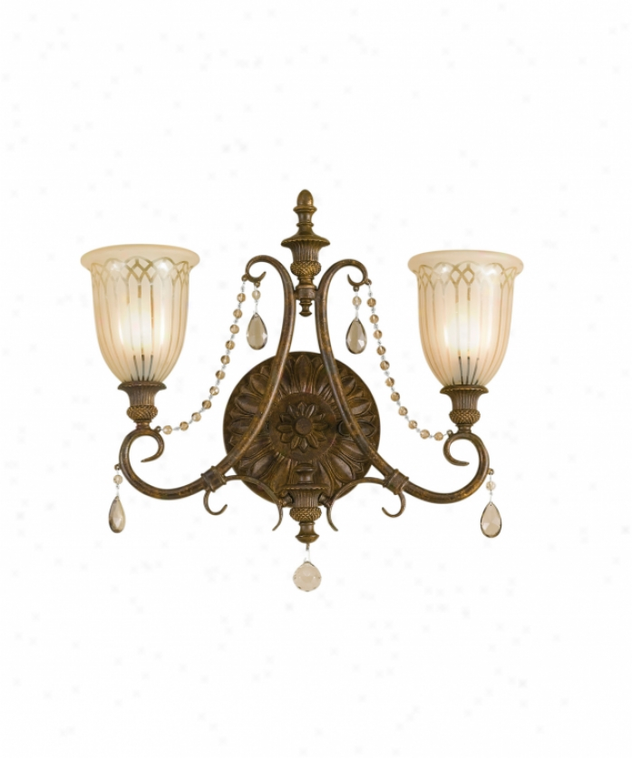 Murray Feiss Vs12902ats Lake Geneve 2 Light Bath Vanity Light In Aged Tortoise Shell With Intaglio Glass Glass