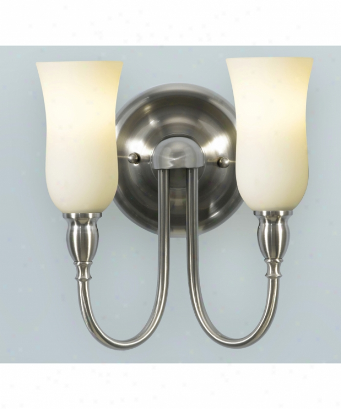 Murray Feiss Vs14202bs Butler 2 Light Bath Vanity Light In Brushed Steel With White Opal Etched Glass Glass
