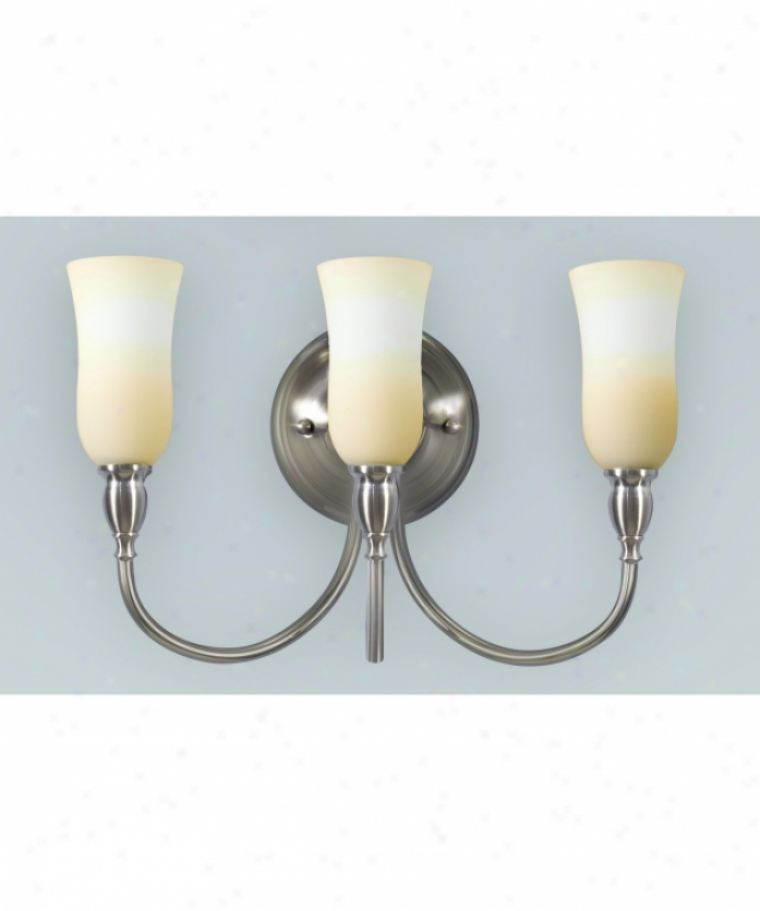 Murray Feiss Vs14203bs Butler 3 Light Bath Vanity Light In Brushed Steel With White Opal Etched Glass Glass