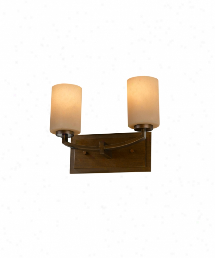 Murray Feiss Vs15902htbz Pfeston 2 Light Bath Vanity Light In Heritage Bronze With Bark Textured Ambre Etched Glass