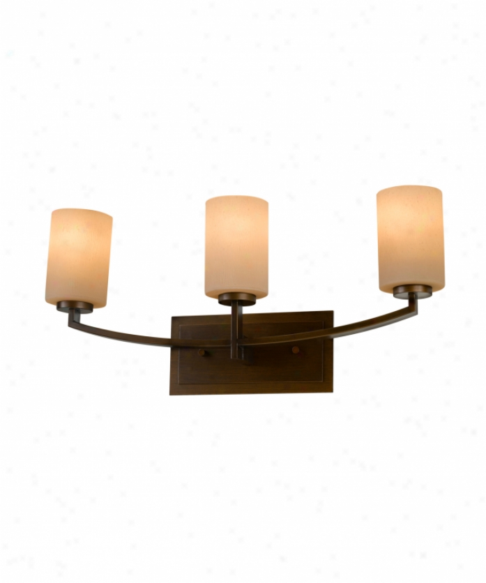 Murray Feiss Vs15903tbz Preston 3 Daybreak Bath Vanity Light In Inheritance Bronze With Bark Textured Amber Etched Glass
