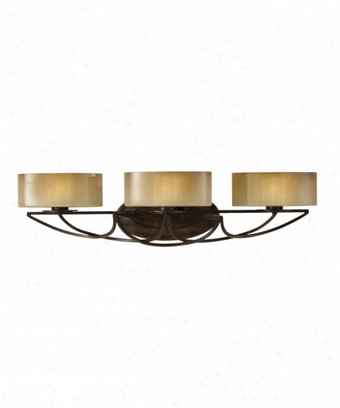 Murray Feiss Vs17803mbz El Nido 3 Loose Bath Vanity Light In Mocha Brown With Striated Ivoryglass Glass