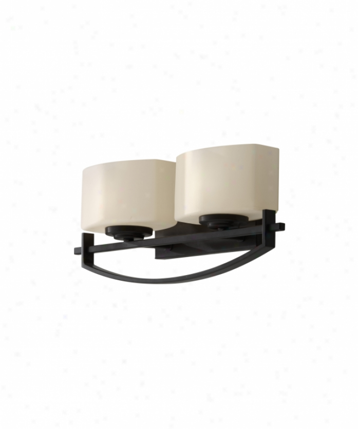 Murray Feiss Vs18202orb Bleeker Street 2 Light Bath Vanity Porous In Oil Rubbed Bronze With Cream Etched Glass