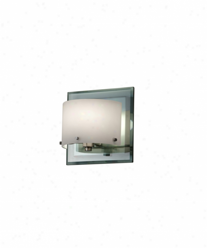 Murray Feiss Vs19301bs Khola 1 Light Wall Sconce In Brushed Steel With Cola Glass-white Opal Etched Glass Glass