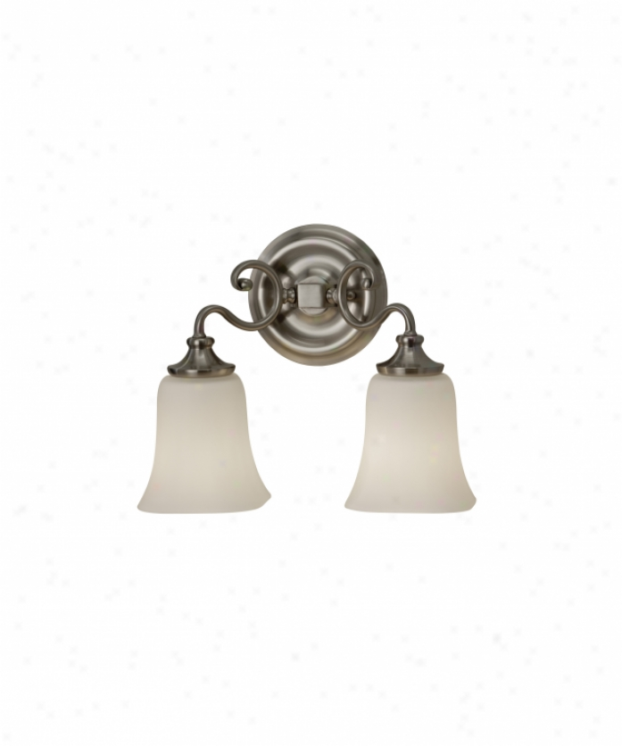 Murray Feiss Vs19602bs Brook Haven 2 Light Bath Vanity Light In Brushed Steel With White Opal Etchedglass Glass