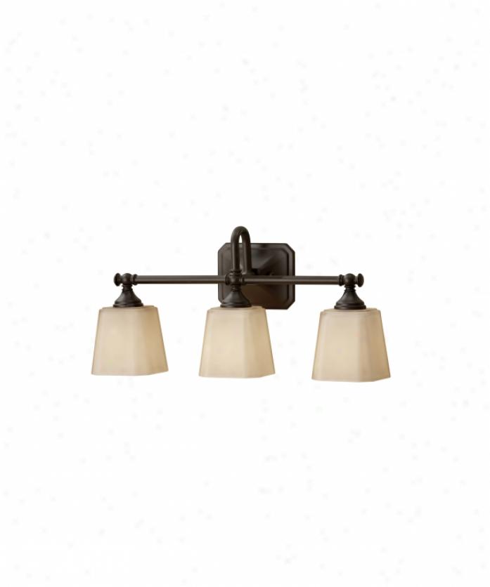 Murray Feiss Vs119703orb Concord 3 Light Bath Vanitt Light In Oil Rubbed Bronze With Cream Etchedglass Glass