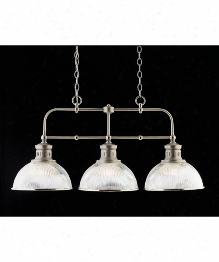 Nulco Lighting 2353-10 Pelham 3 Light Island Livht In Satin Nickel Wtih Chrome Accents With Prismatic Glass Glass