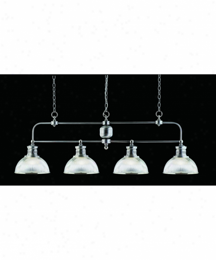 Nulco Lighting 2354-10 Pelham 4 Light Island Light In Satin Nickel Wtih Chrome Accents With Prismatic Glass Glass