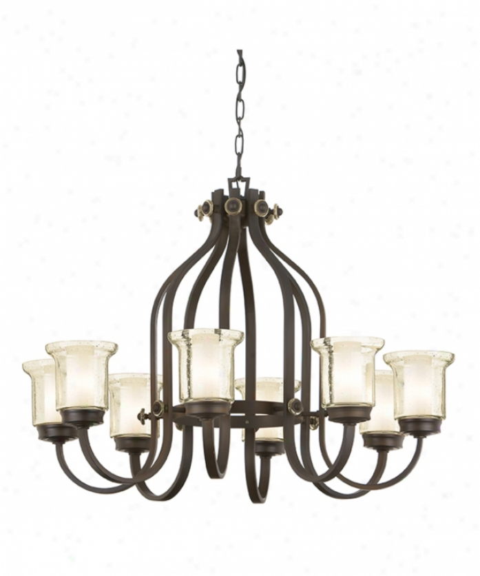Nulco Lighting 2908-80 Arlington 8 Light Singel Tier Chandelier In Architectural Bronze With Champagne Seedy Glass Glass