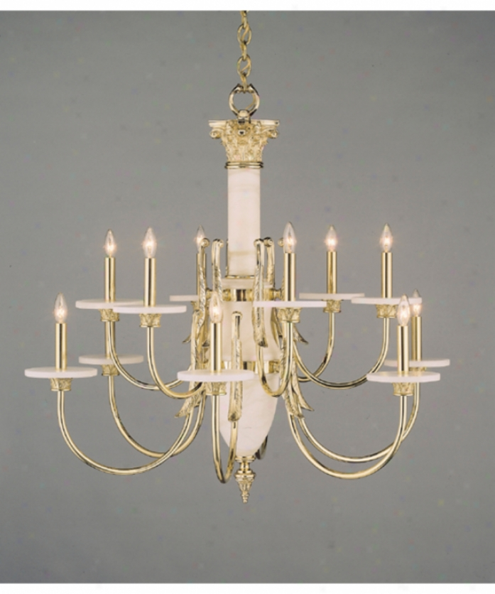 Nulco Lighting 4412-32 Palladian Alabaster And Marble 12 Light Two Tier Chandelier In Whitwashed Gold Antique