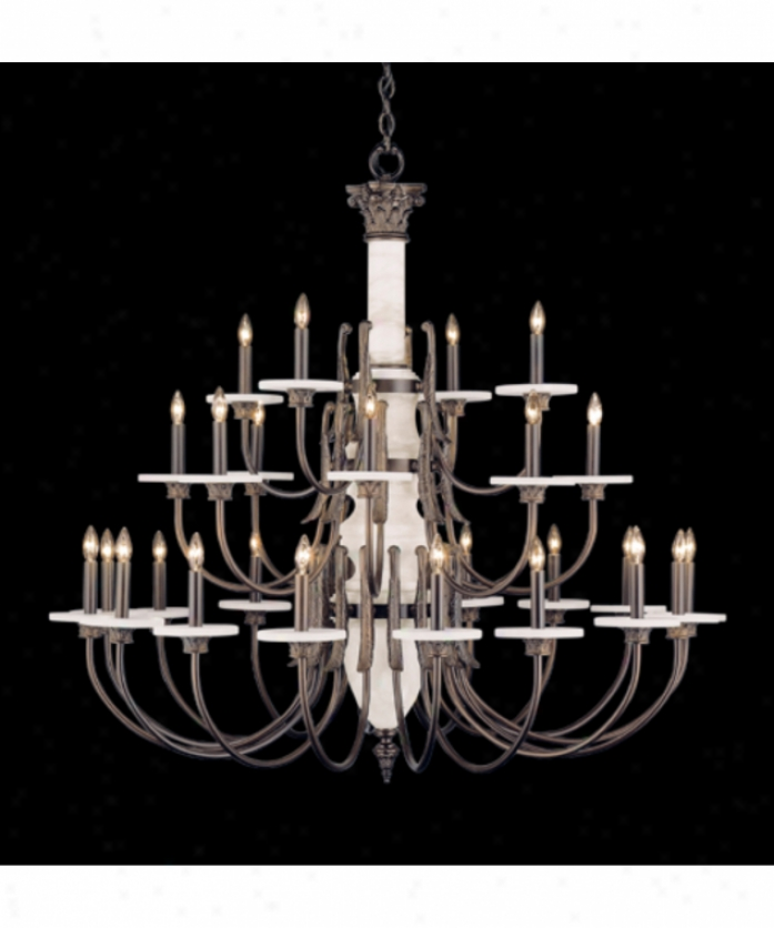 Nulco Lighting 4424-32 Palladian Alabaster And Marble 24 Light Two Tier Chandeiler In Whitewashed Gold Antique
