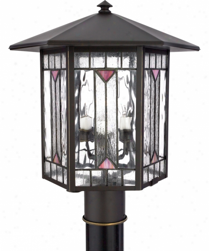 Quoizel Cl9084z Chaparral 3 Light Outdoor Post Lamp In Medici Bronze With Clear Seedy & Stained Glass Glass