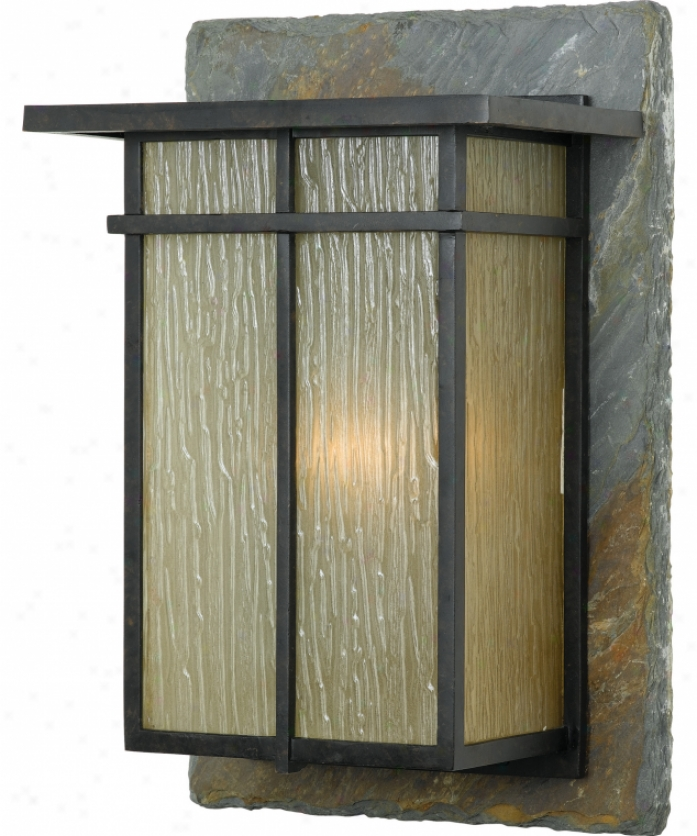 uQoizel Gh8412ibs Guthrie 1 Light Outdoor Wall Light In Imperial Brown With Frosted Rain Glass Glass